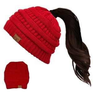 C.C Messy Bun Beanie Tail in Red
